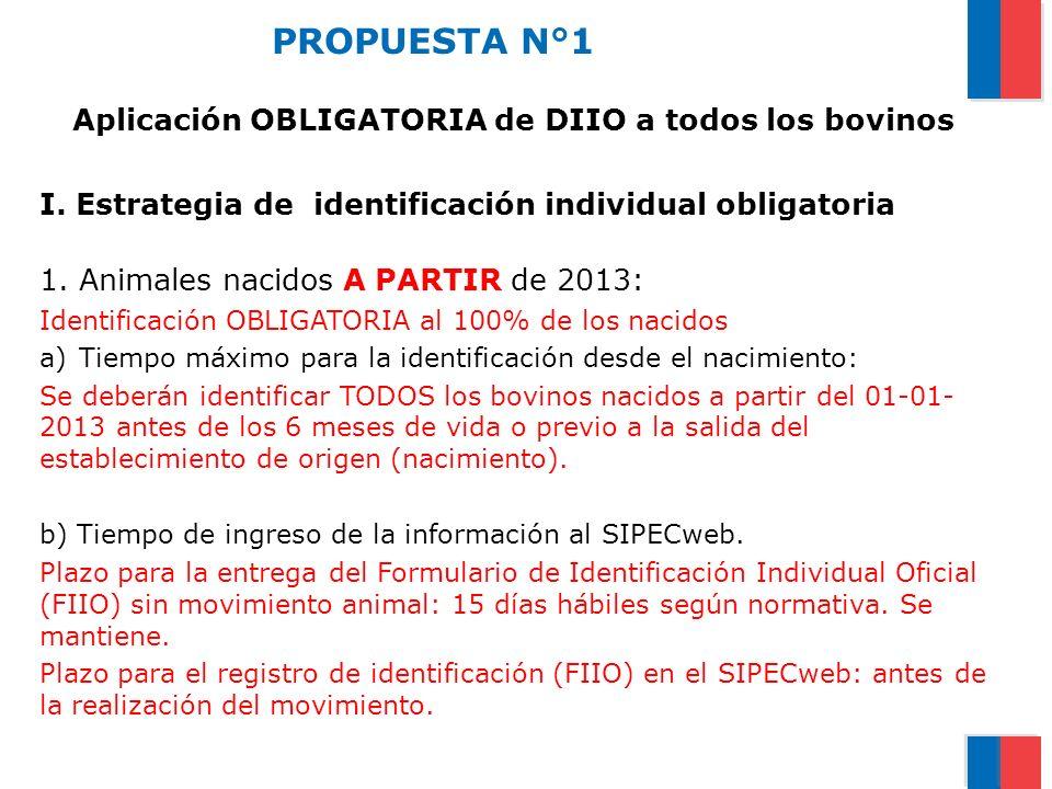 PROPUESTA N°1 Aplicación OBLIGATORIA de DIIO a todos los bovinos I. Estrategia de identificación individual obligatoria 1. Animales nacidos A PARTIR d