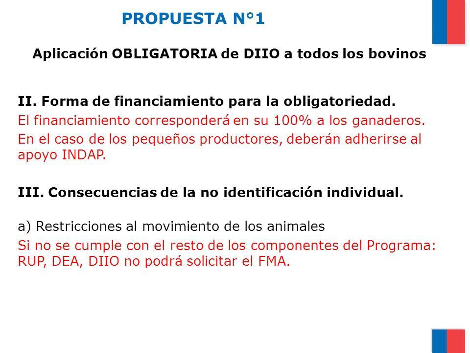 PROPUESTA N°1 Aplicación OBLIGATORIA de DIIO a todos los bovinos II. Forma de financiamiento para la obligatoriedad. El financiamiento corresponderá e