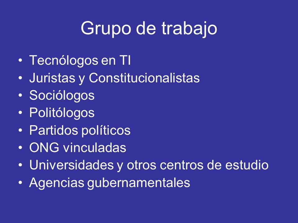 Grupo de trabajo Tecnólogos en TI Juristas y Constitucionalistas Sociólogos Politólogos Partidos políticos ONG vinculadas Universidades y otros centro