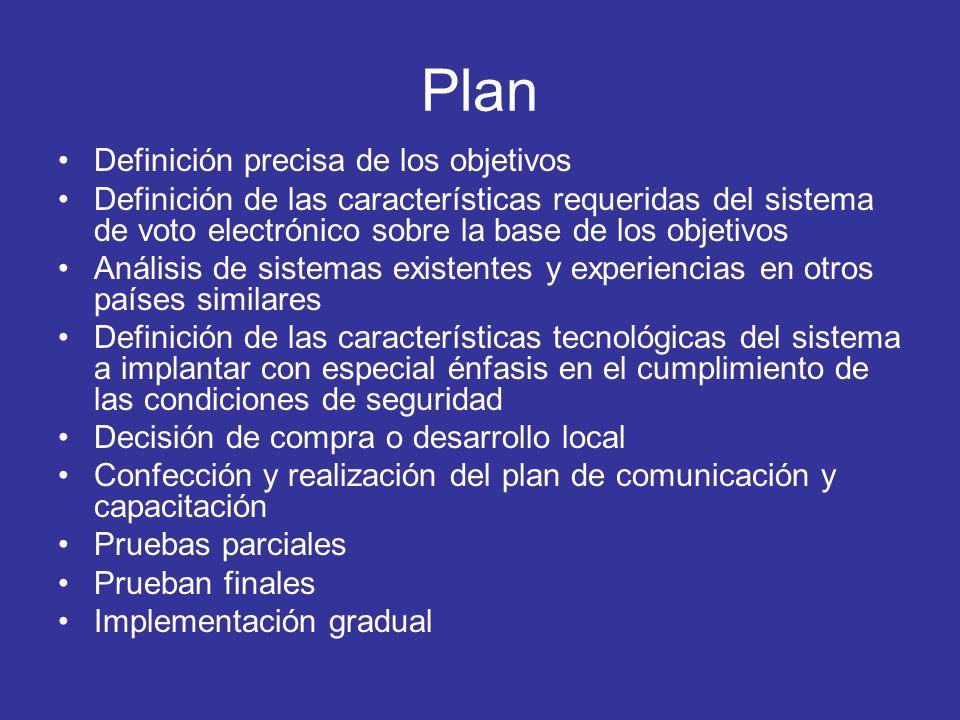 Plan Definición precisa de los objetivos Definición de las características requeridas del sistema de voto electrónico sobre la base de los objetivos A