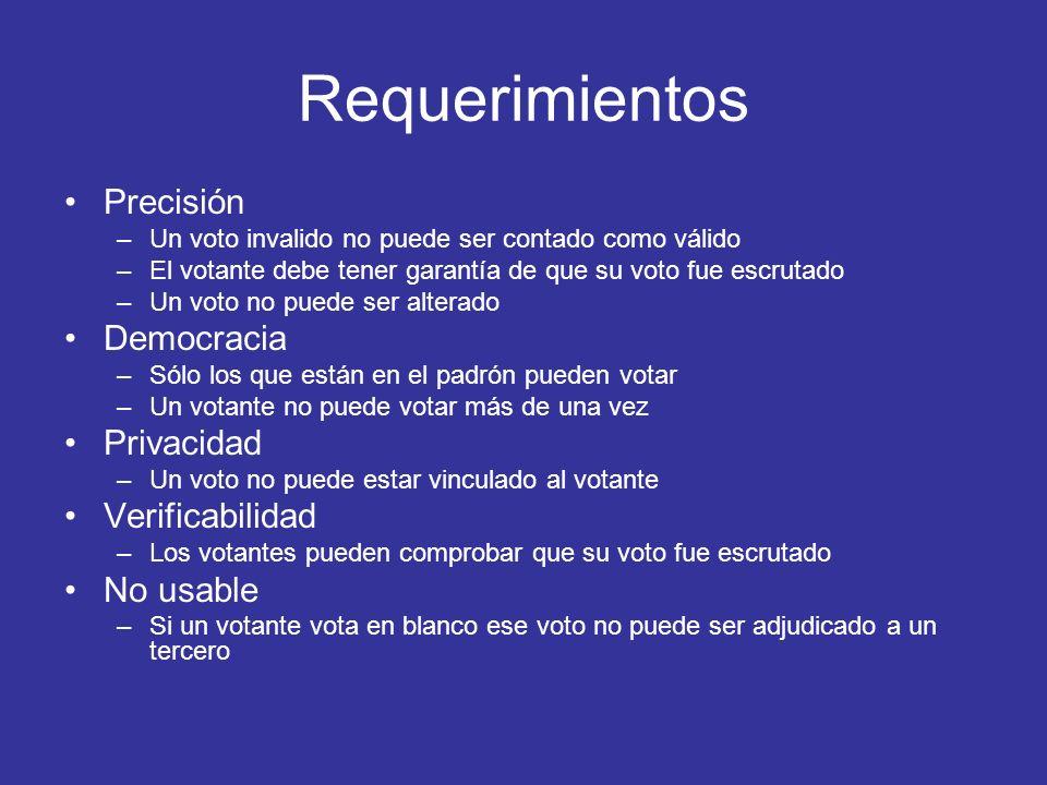 Requerimientos Precisión –Un voto invalido no puede ser contado como válido –El votante debe tener garantía de que su voto fue escrutado –Un voto no p