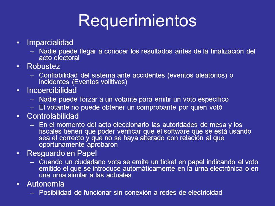 Requerimientos Imparcialidad –Nadie puede llegar a conocer los resultados antes de la finalización del acto electoral Robustez –Confiabilidad del sist