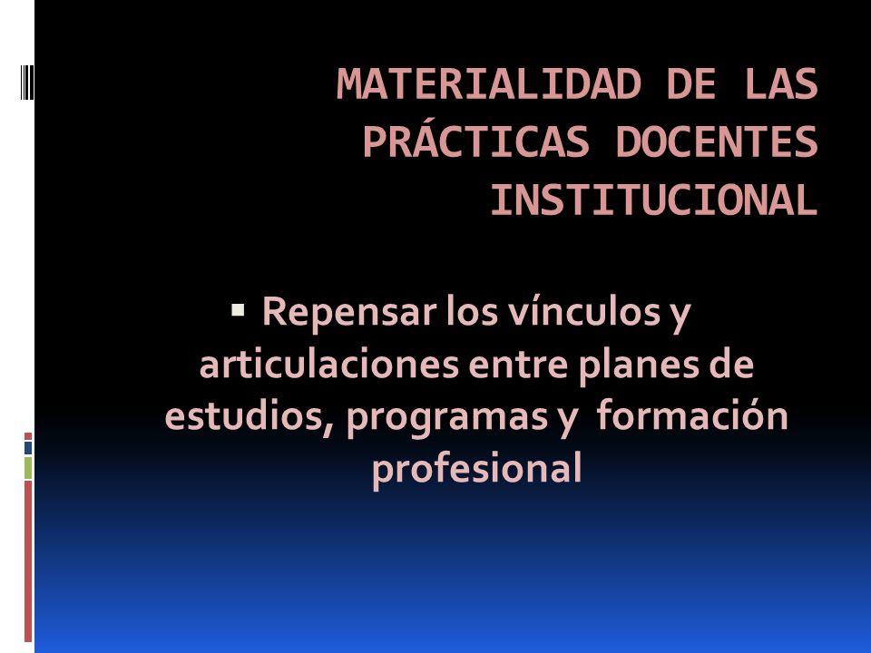 MATERIALIDAD DE LAS PRÁCTICAS DOCENTES INSTITUCIONAL Repensar los vínculos y articulaciones entre planes de estudios, programas y formación profesional