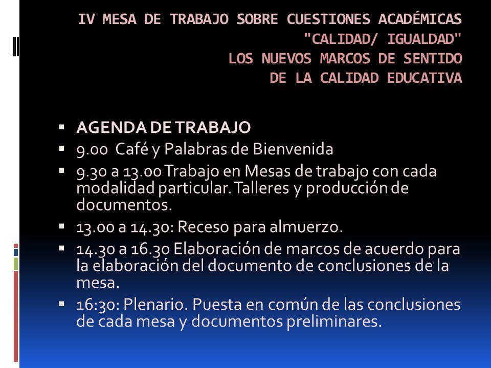 IV MESA DE TRABAJO SOBRE CUESTIONES ACADÉMICAS CALIDAD/ IGUALDAD LOS NUEVOS MARCOS DE SENTIDO DE LA CALIDAD EDUCATIVA AGENDA DE TRABAJO 9.00 Café y Palabras de Bienvenida 9.30 a 13.00 Trabajo en Mesas de trabajo con cada modalidad particular.