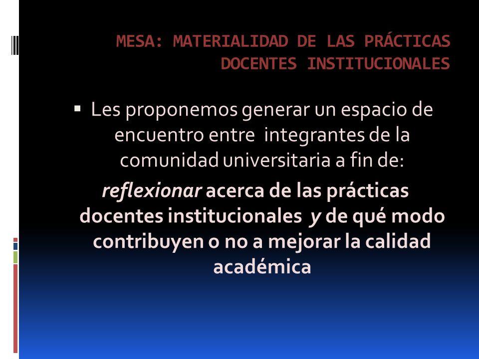 MESA: MATERIALIDAD DE LAS PRÁCTICAS DOCENTES INSTITUCIONALES Les proponemos generar un espacio de encuentro entre integrantes de la comunidad universitaria a fin de: reflexionar acerca de las prácticas docentes institucionales y de qué modo contribuyen o no a mejorar la calidad académica