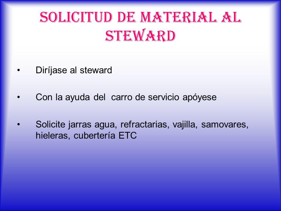 SOLICITUD DE MATERIAL AL STEWARD Diríjase al steward Con la ayuda del carro de servicio apóyese Solicite jarras agua, refractarias, vajilla, samovares