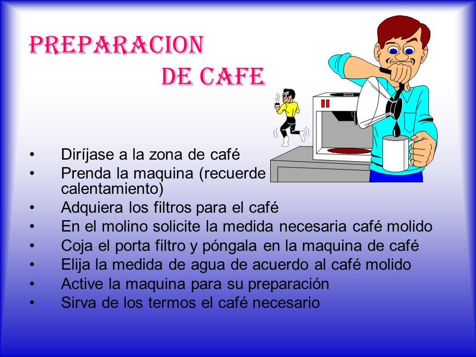 PREPARACION DE CAFE Diríjase a la zona de café Prenda la maquina (recuerde los 30 min. de calentamiento) Adquiera los filtros para el café En el molin
