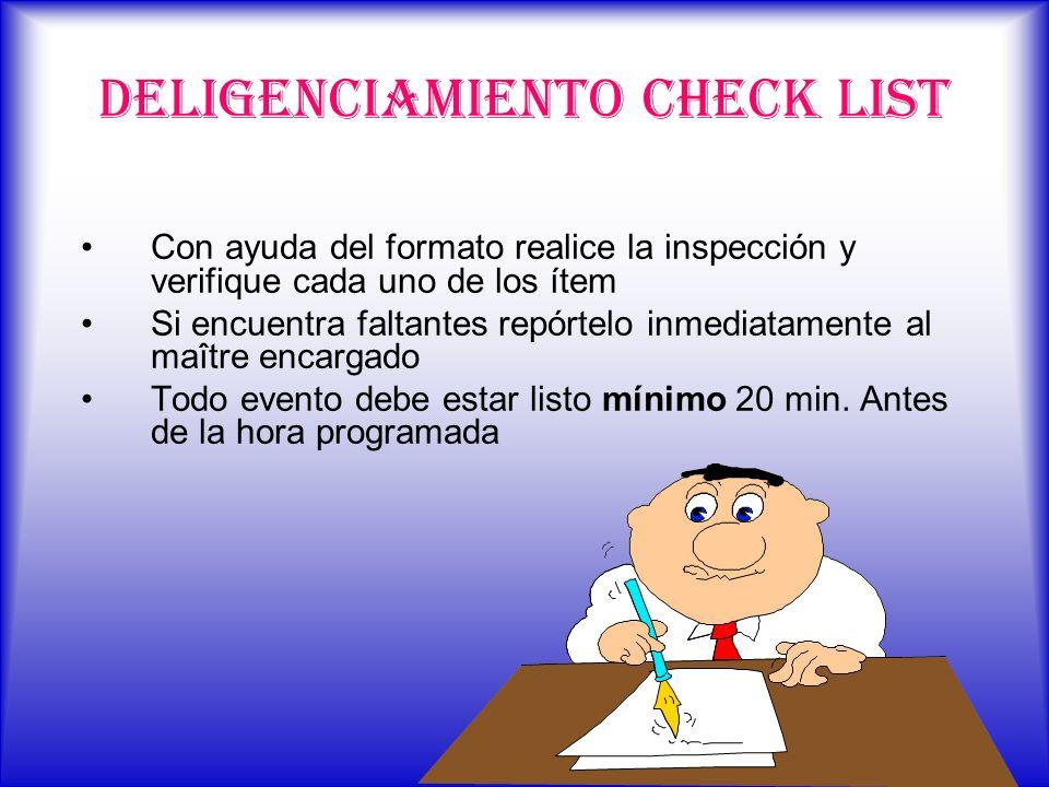 DELIGENCIAMIENTO CHECK LIST Con ayuda del formato realice la inspección y verifique cada uno de los ítem Si encuentra faltantes repórtelo inmediatamen