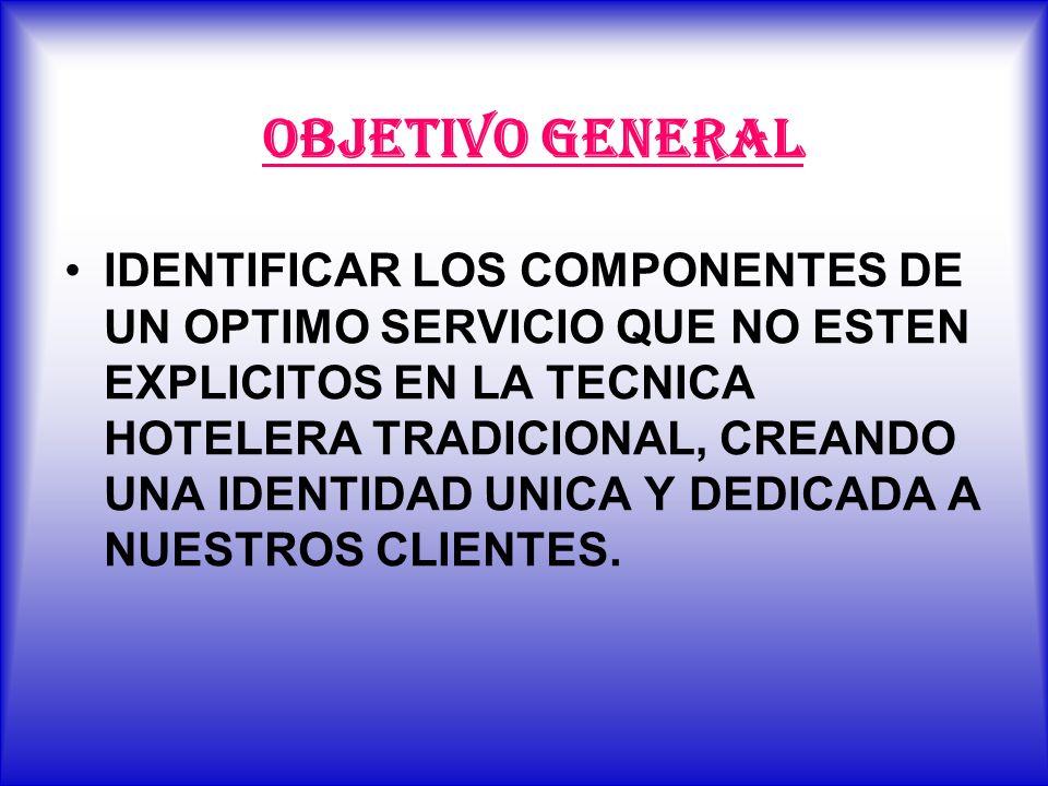 OBJETIVO GENERAL IDENTIFICAR LOS COMPONENTES DE UN OPTIMO SERVICIO QUE NO ESTEN EXPLICITOS EN LA TECNICA HOTELERA TRADICIONAL, CREANDO UNA IDENTIDAD U