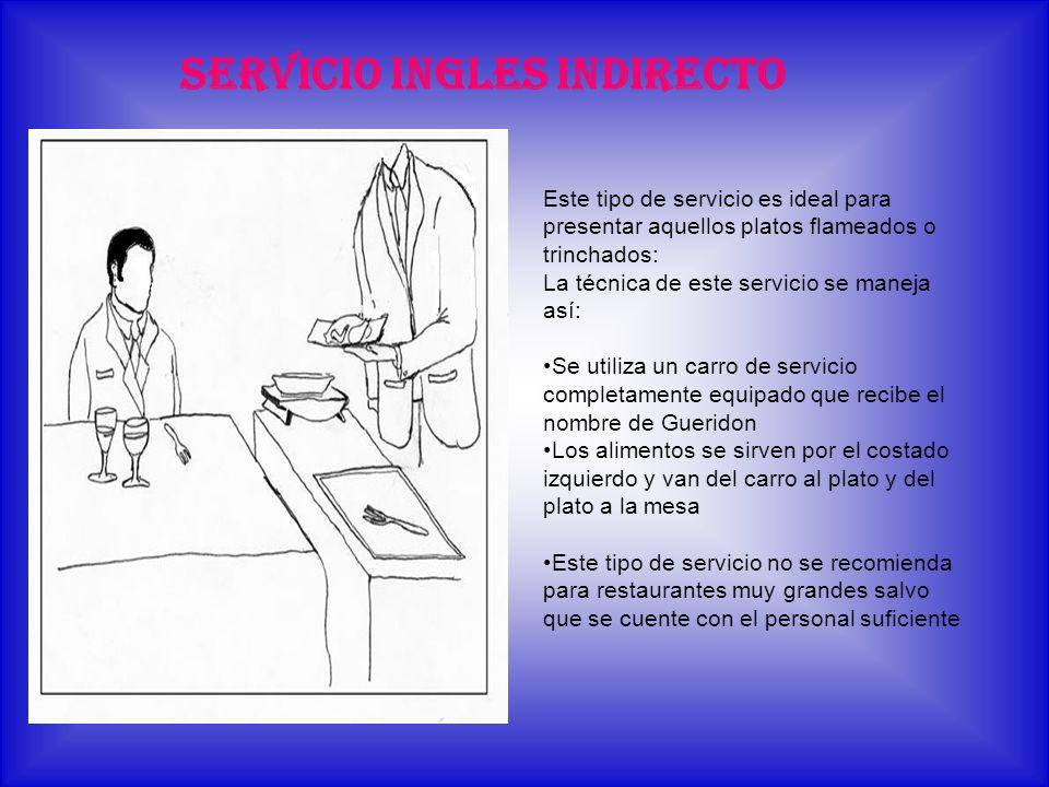 SERVICIO INGLES INDIRECTO Este tipo de servicio es ideal para presentar aquellos platos flameados o trinchados: La técnica de este servicio se maneja