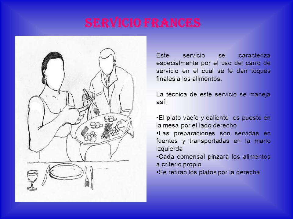 SERVICIO FRANCES Este servicio se caracteriza especialmente por el uso del carro de servicio en el cual se le dan toques finales a los alimentos. La t