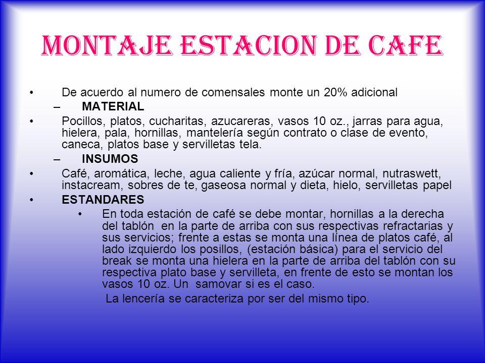 MONTAJE ESTACION DE CAFE De acuerdo al numero de comensales monte un 20% adicional –MATERIAL Pocillos, platos, cucharitas, azucareras, vasos 10 oz., j