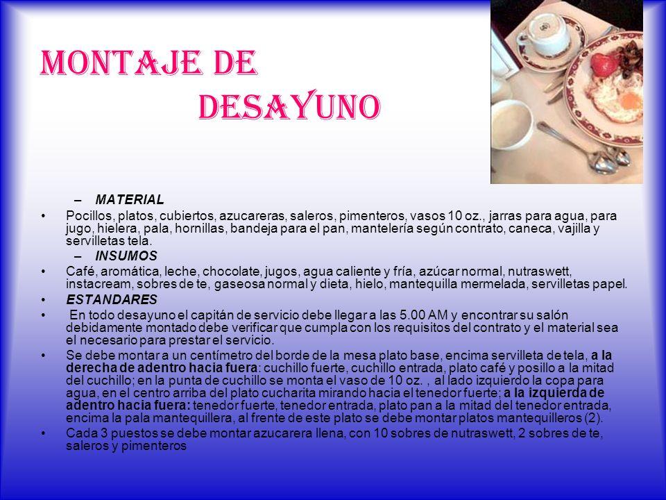 MONTAJE DE DESAYUNO –MATERIAL Pocillos, platos, cubiertos, azucareras, saleros, pimenteros, vasos 10 oz., jarras para agua, para jugo, hielera, pala,