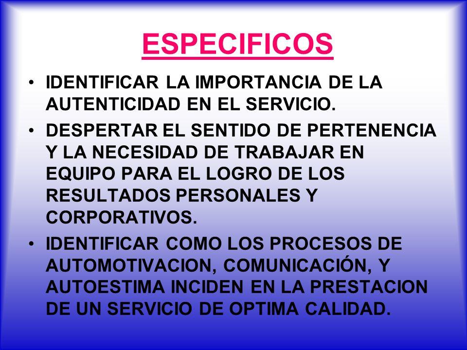 ESPECIFICOS IDENTIFICAR LA IMPORTANCIA DE LA AUTENTICIDAD EN EL SERVICIO. DESPERTAR EL SENTIDO DE PERTENENCIA Y LA NECESIDAD DE TRABAJAR EN EQUIPO PAR