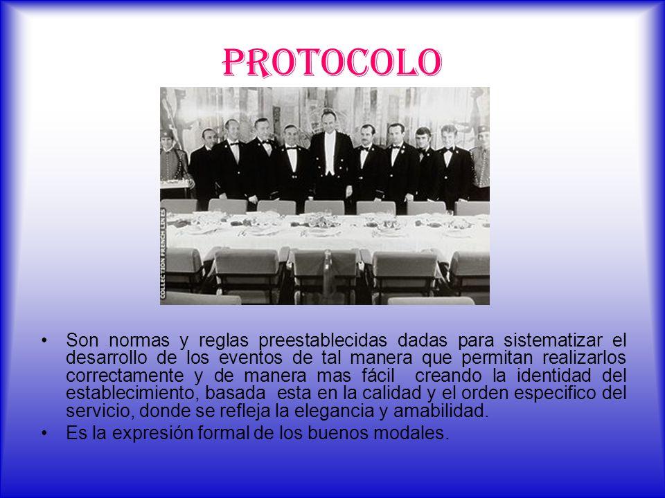PROTOCOLO Son normas y reglas preestablecidas dadas para sistematizar el desarrollo de los eventos de tal manera que permitan realizarlos correctament