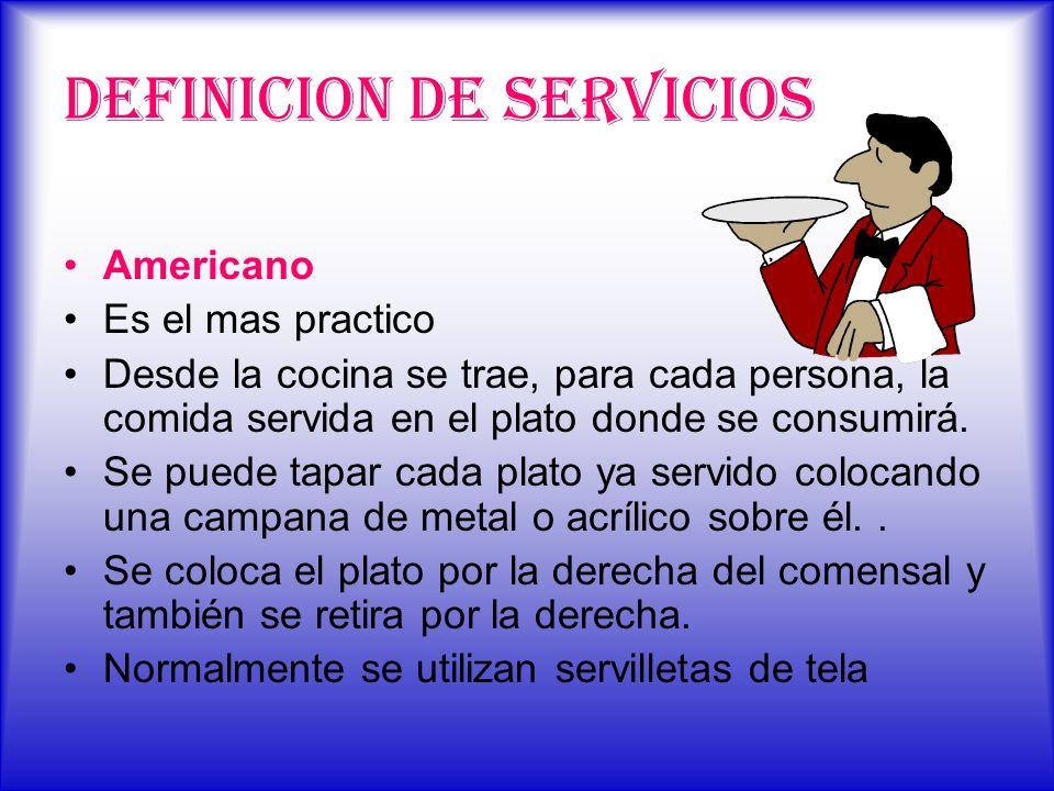DEFINICION DE SERVICIOS Americano Es el mas practico Desde la cocina se trae, para cada persona, la comida servida en el plato donde se consumirá. Se