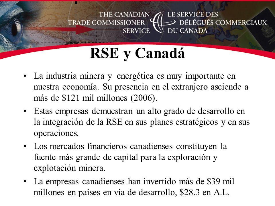 RSE y Canadá La industria minera y energética es muy importante en nuestra economía.