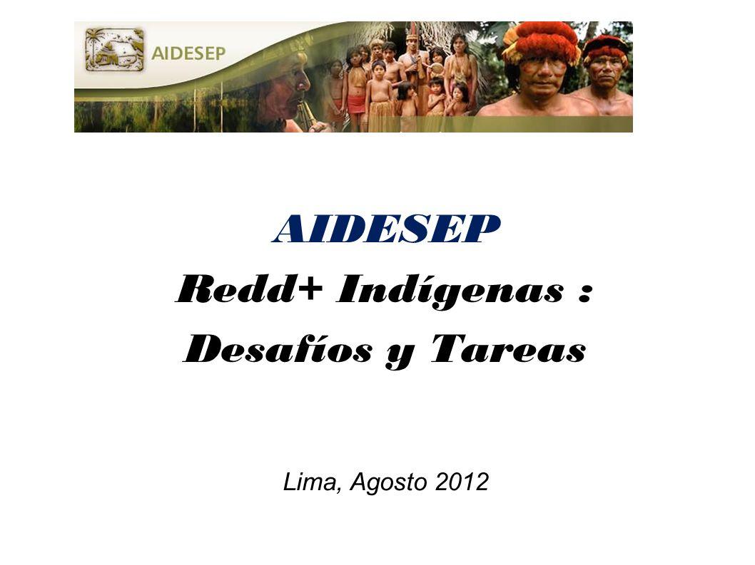 AIDESEP Redd+ Indígenas : Desafíos y Tareas Lima, Agosto 2012