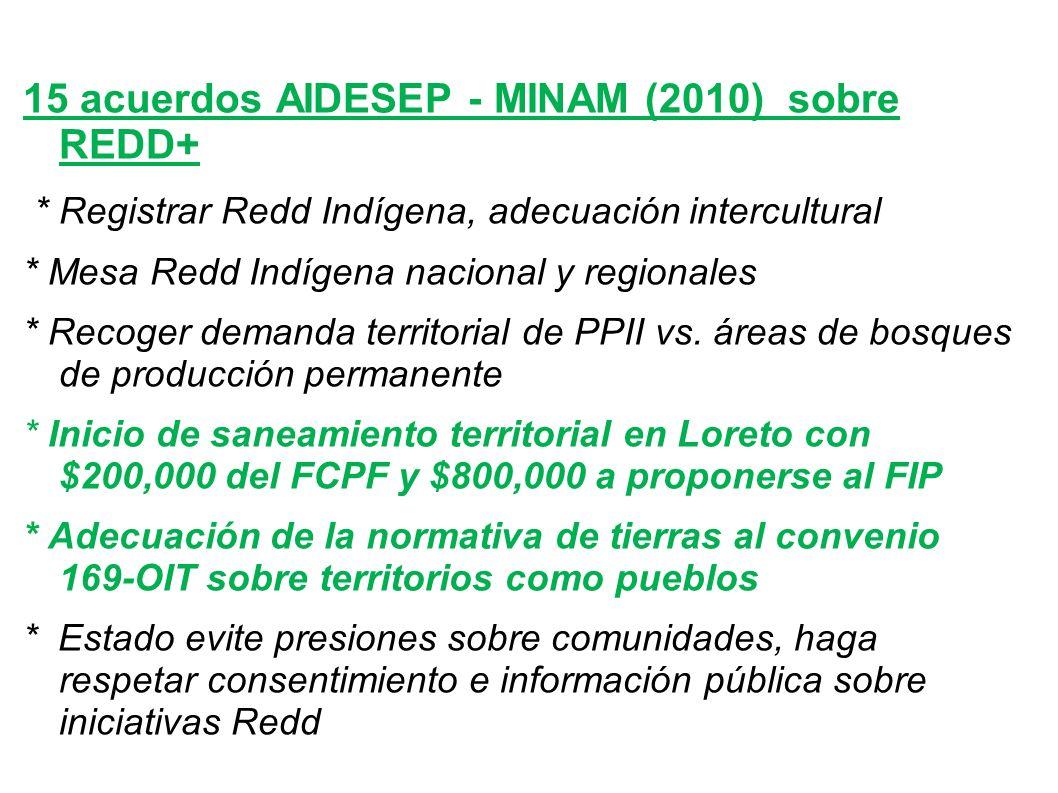15 acuerdos AIDESEP - MINAM (2010) sobre REDD+ * Registrar Redd Indígena, adecuación intercultural * Mesa Redd Indígena nacional y regionales * Recoger demanda territorial de PPII vs.