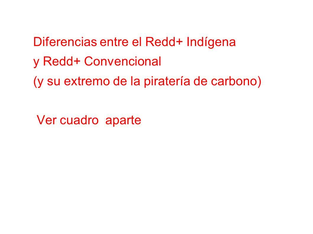 Diferencias entre el Redd+ Indígena y Redd+ Convencional (y su extremo de la piratería de carbono) Ver cuadro aparte