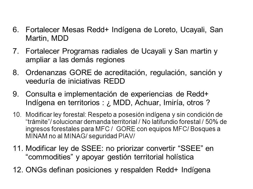 6.Fortalecer Mesas Redd+ Indígena de Loreto, Ucayali, San Martin, MDD 7.Fortalecer Programas radiales de Ucayali y San martin y ampliar a las demás regiones 8.Ordenanzas GORE de acreditación, regulación, sanción y veeduría de iniciativas REDD 9.Consulta e implementación de experiencias de Redd+ Indígena en territorios : ¿ MDD, Achuar, Imiría, otros .