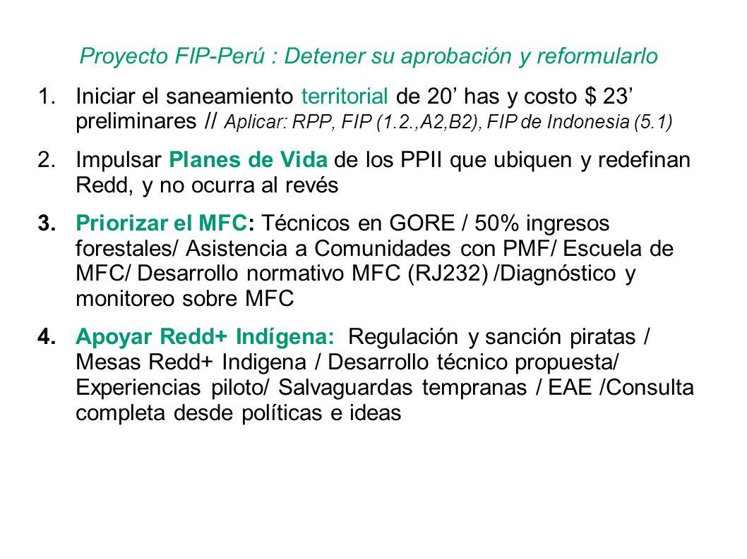 Proyecto FIP-Perú : Detener su aprobación y reformularlo 1.Iniciar el saneamiento territorial de 20 has y costo $ 23 preliminares // Aplicar: RPP, FIP (1.2.,A2,B2), FIP de Indonesia (5.1) 2.Impulsar Planes de Vida de los PPII que ubiquen y redefinan Redd, y no ocurra al revés 3.Priorizar el MFC: Técnicos en GORE / 50% ingresos forestales/ Asistencia a Comunidades con PMF/ Escuela de MFC/ Desarrollo normativo MFC (RJ232) /Diagnóstico y monitoreo sobre MFC 4.Apoyar Redd+ Indígena: Regulación y sanción piratas / Mesas Redd+ Indigena / Desarrollo técnico propuesta/ Experiencias piloto/ Salvaguardas tempranas / EAE /Consulta completa desde políticas e ideas