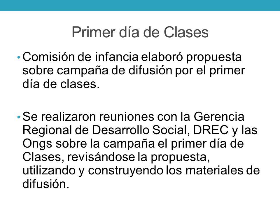 Primer día de Clases Comisión de infancia elaboró propuesta sobre campaña de difusión por el primer día de clases. Se realizaron reuniones con la Gere