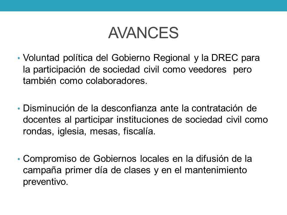 AVANCES Voluntad política del Gobierno Regional y la DREC para la participación de sociedad civil como veedores pero también como colaboradores. Dismi