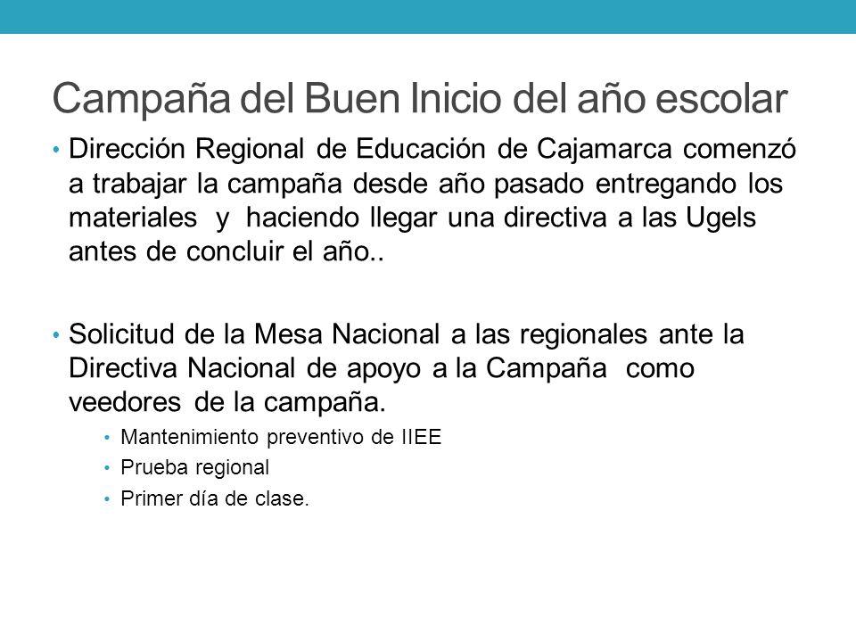 Campaña del Buen Inicio del año escolar Dirección Regional de Educación de Cajamarca comenzó a trabajar la campaña desde año pasado entregando los mat