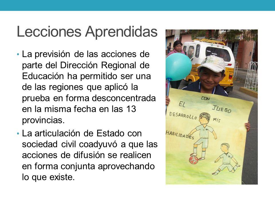 Lecciones Aprendidas La previsión de las acciones de parte del Dirección Regional de Educación ha permitido ser una de las regiones que aplicó la prue