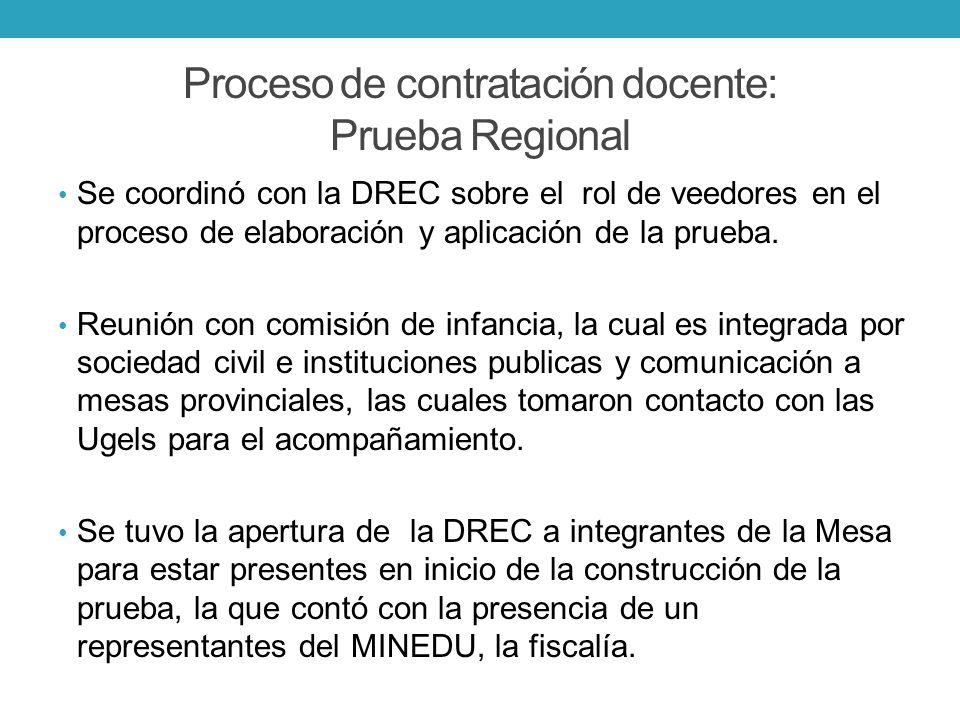Proceso de contratación docente: Prueba Regional Se coordinó con la DREC sobre el rol de veedores en el proceso de elaboración y aplicación de la prue