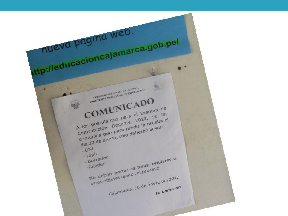 Proceso de contratación docente: Prueba Regional La prueba se elaboró con la participación de especialistas de la DREC y Ugels, el director de gestión pedagógica, así como consultores de la Universidad Guzmán y Valle.