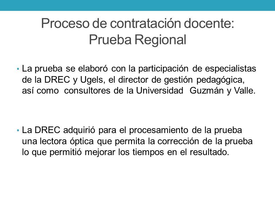 Proceso de contratación docente: Prueba Regional La prueba se elaboró con la participación de especialistas de la DREC y Ugels, el director de gestión