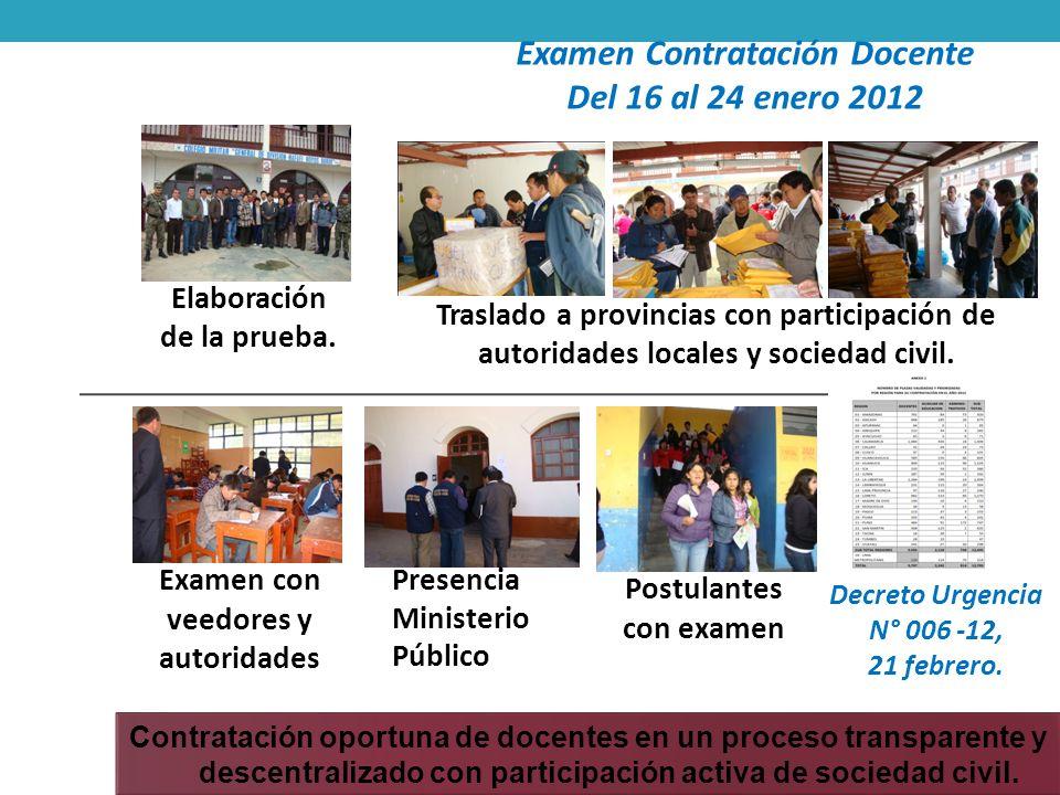 Contratación oportuna de docentes en un proceso transparente y descentralizado con participación activa de sociedad civil. Decreto Urgencia N° 006 -12