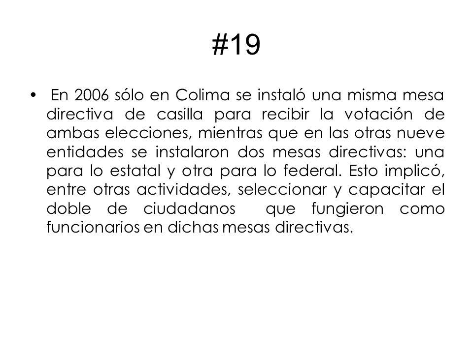#19 En 2006 sólo en Colima se instaló una misma mesa directiva de casilla para recibir la votación de ambas elecciones, mientras que en las otras nueve entidades se instalaron dos mesas directivas: una para lo estatal y otra para lo federal.