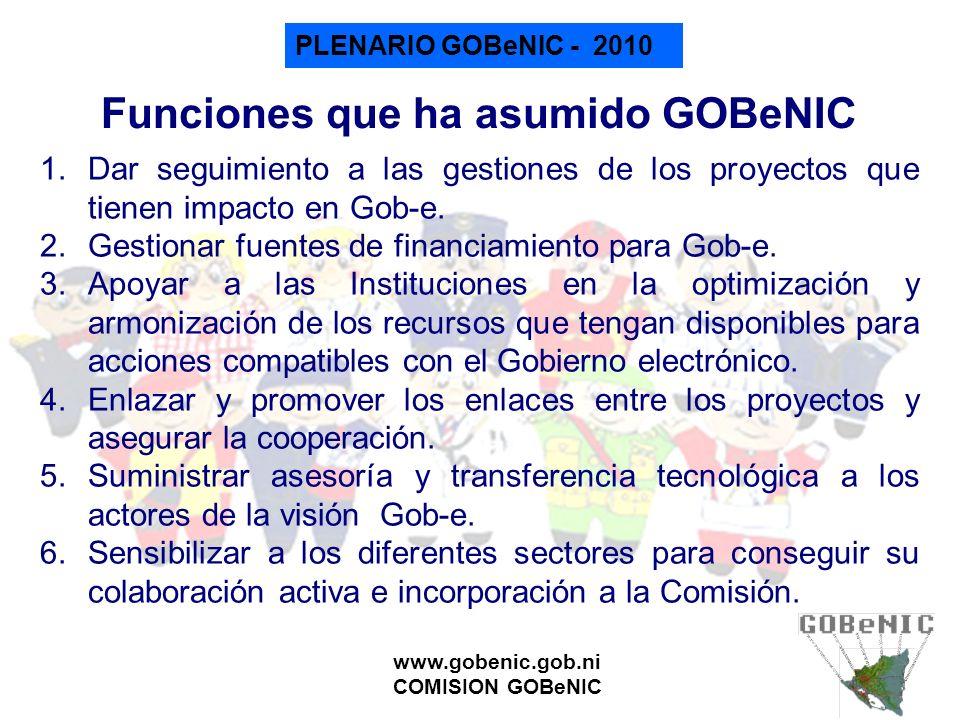 PLENARIO GOBeNIC - 2010 www.gobenic.gob.ni COMISION GOBeNIC Funciones que ha asumido GOBeNIC 1.Dar seguimiento a las gestiones de los proyectos que ti