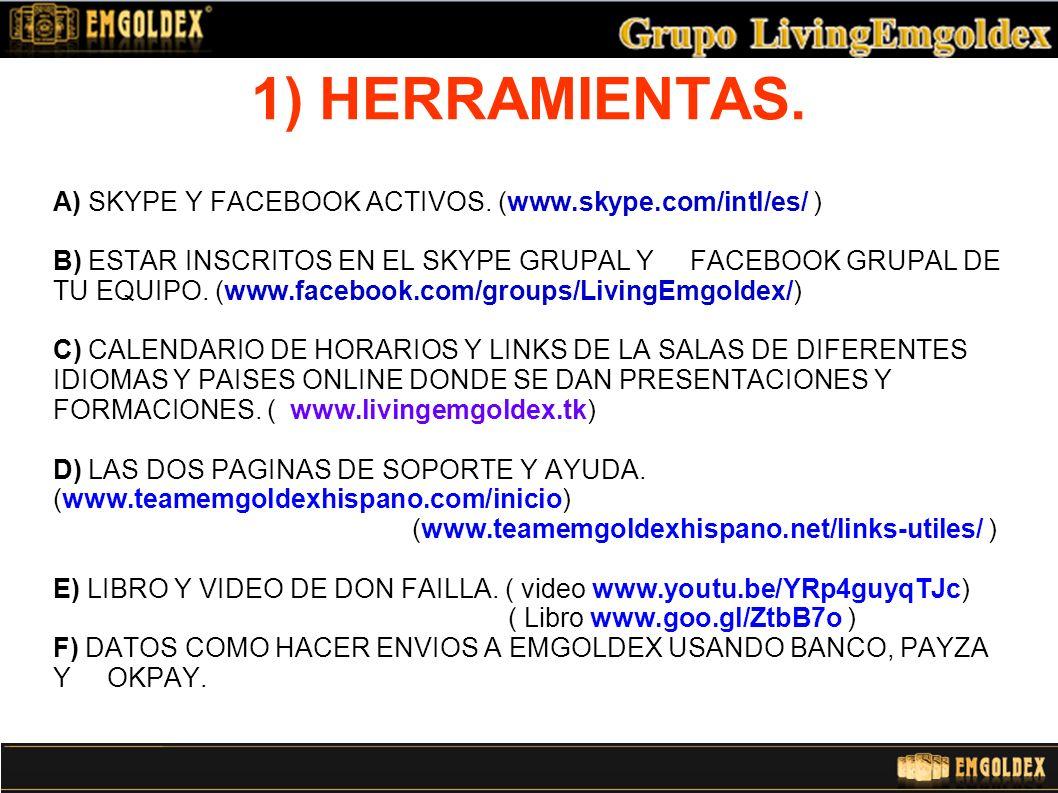 1) HERRAMIENTAS.A) SKYPE Y FACEBOOK ACTIVOS.