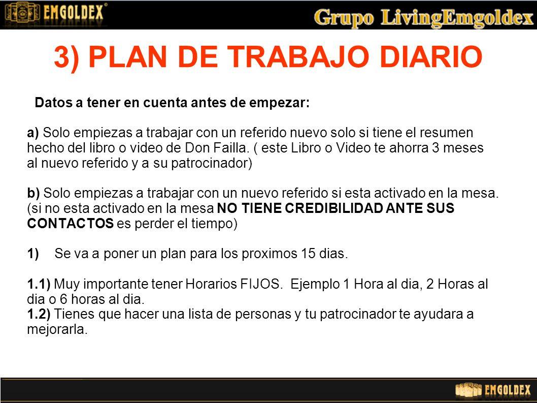 3) PLAN DE TRABAJO DIARIO 1.3) El Patrocinador tiene que enseñar perfectamente como tiene que contactar el referido.