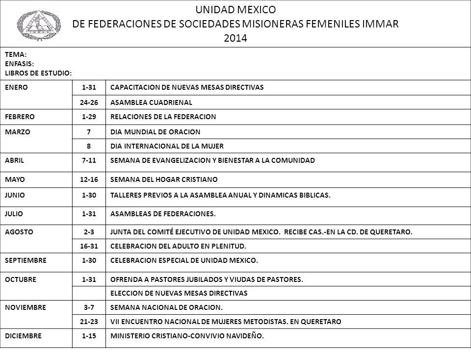 UNIDAD MEXICO DE FEDERACIONES DE SOCIEDADES MISIONERAS FEMENILES IMMAR 2014 TEMA: ENFASIS: LIBROS DE ESTUDIO: ENERO1-31CAPACITACION DE NUEVAS MESAS DI