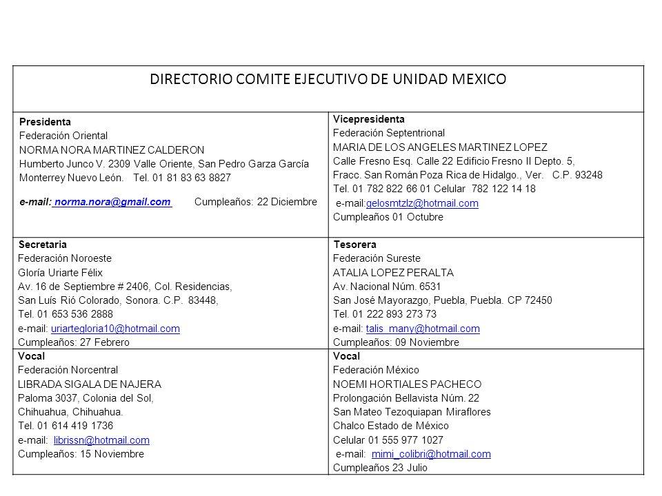 DIRECTORIO COMITE EJECUTIVO DE UNIDAD MEXICO Presidenta Federación Oriental NORMA NORA MARTINEZ CALDERON Humberto Junco V. 2309 Valle Oriente, San Ped
