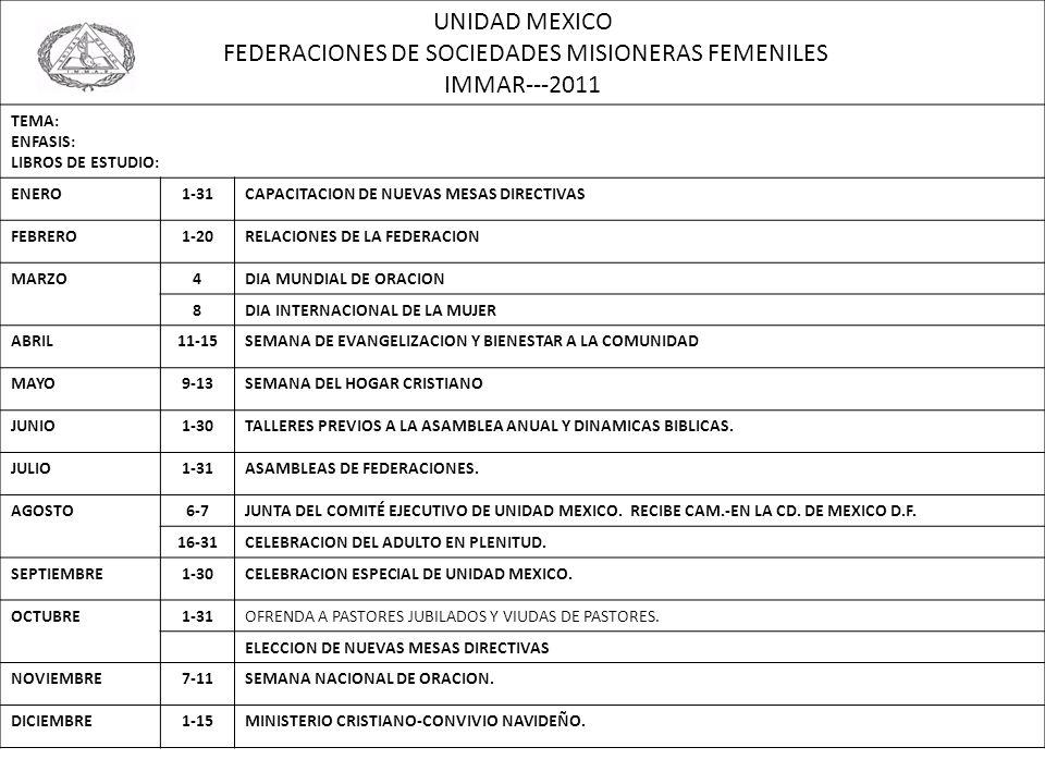 UNIDAD MEXICO FEDERACIONES DE SOCIEDADES MISIONERAS FEMENILES IMMAR---2011 TEMA: ENFASIS: LIBROS DE ESTUDIO: ENERO1-31CAPACITACION DE NUEVAS MESAS DIR