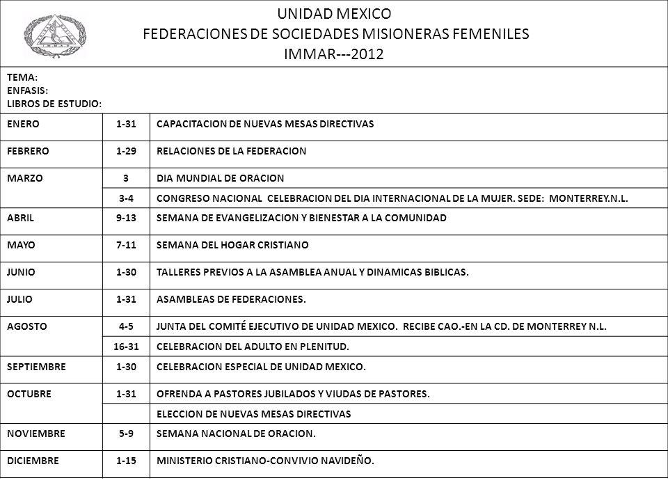 UNIDAD MEXICO FEDERACIONES DE SOCIEDADES MISIONERAS FEMENILES IMMAR---2012 TEMA: ENFASIS: LIBROS DE ESTUDIO: ENERO1-31CAPACITACION DE NUEVAS MESAS DIR