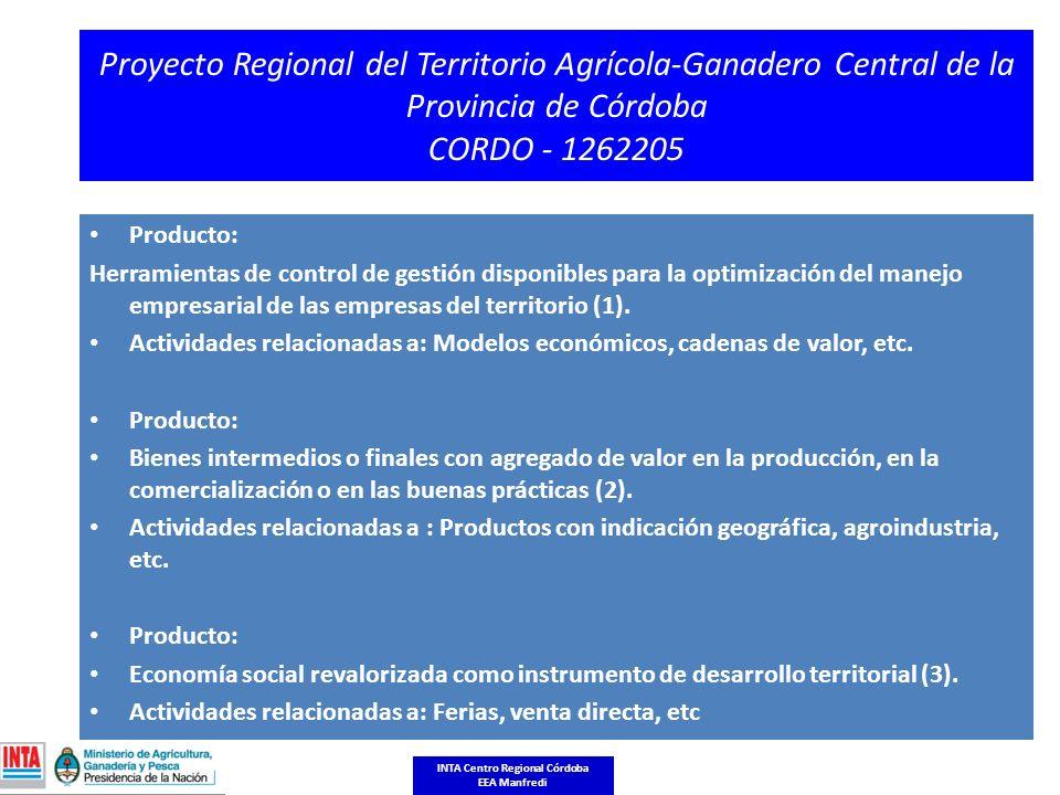 Proyecto Regional del Territorio Agrícola-Ganadero Central de la Provincia de Córdoba CORDO - 1262205 Producto: Herramientas de control de gestión disponibles para la optimización del manejo empresarial de las empresas del territorio (1).