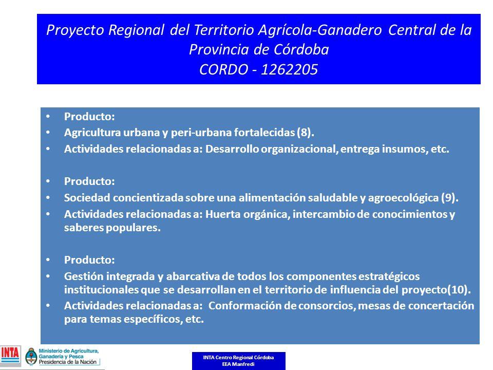 Proyecto Regional del Territorio Agrícola-Ganadero Central de la Provincia de Córdoba CORDO - 1262205 Producto: Agricultura urbana y peri-urbana fortalecidas (8).