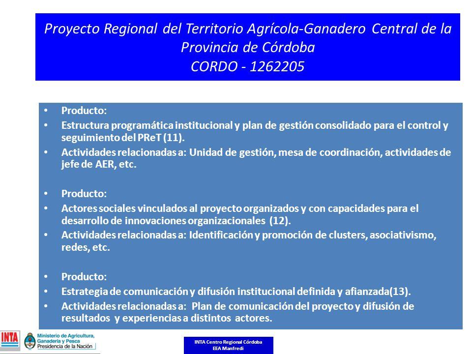 Proyecto Regional del Territorio Agrícola-Ganadero Central de la Provincia de Córdoba CORDO - 1262205 Producto: Estructura programática institucional y plan de gestión consolidado para el control y seguimiento del PReT (11).