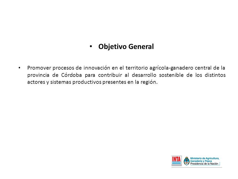 Objetivo General Promover procesos de innovación en el territorio agrícola-ganadero central de la provincia de Córdoba para contribuir al desarrollo sostenible de los distintos actores y sistemas productivos presentes en la región.