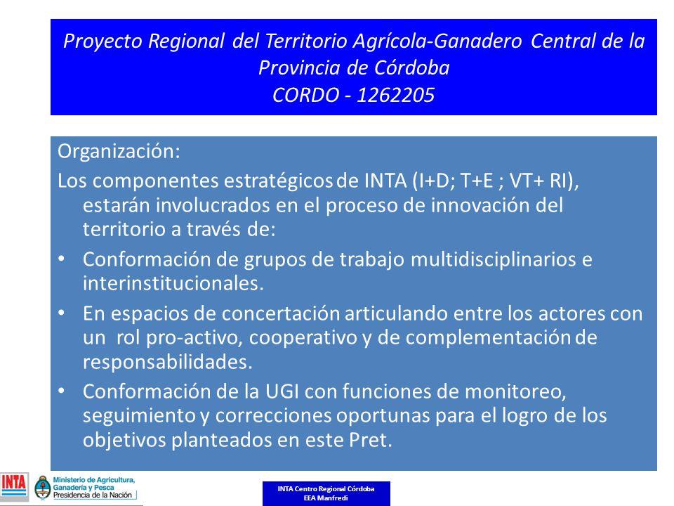 Proyecto Regional del Territorio Agrícola-Ganadero Central de la Provincia de Córdoba CORDO - 1262205 Organización: Los componentes estratégicos de INTA (I+D; T+E ; VT+ RI), estarán involucrados en el proceso de innovación del territorio a través de: Conformación de grupos de trabajo multidisciplinarios e interinstitucionales.