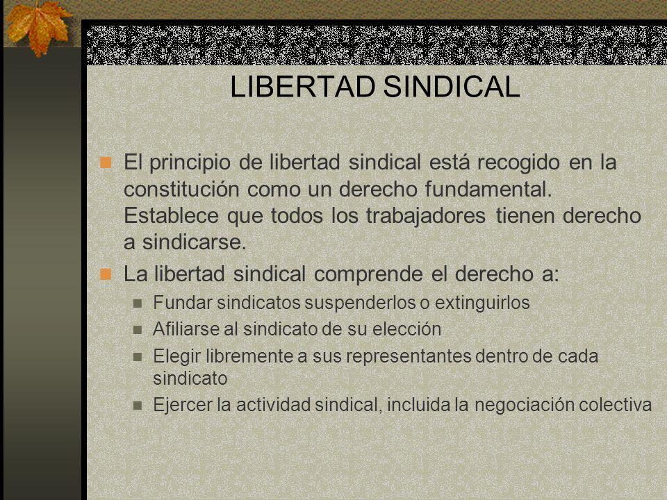 LIBERTAD SINDICAL El principio de libertad sindical está recogido en la constitución como un derecho fundamental. Establece que todos los trabajadores