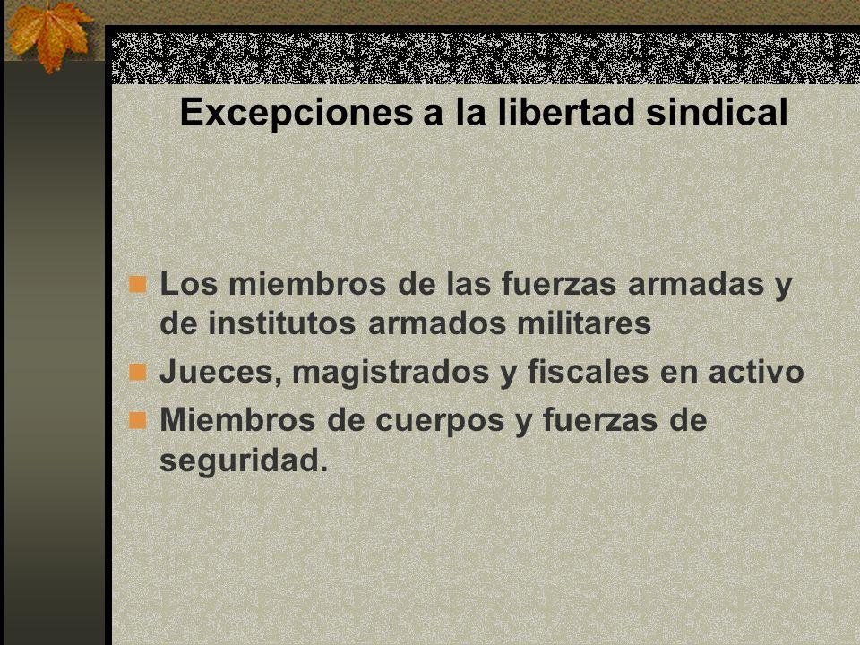 Excepciones a la libertad sindical Los miembros de las fuerzas armadas y de institutos armados militares Jueces, magistrados y fiscales en activo Miem