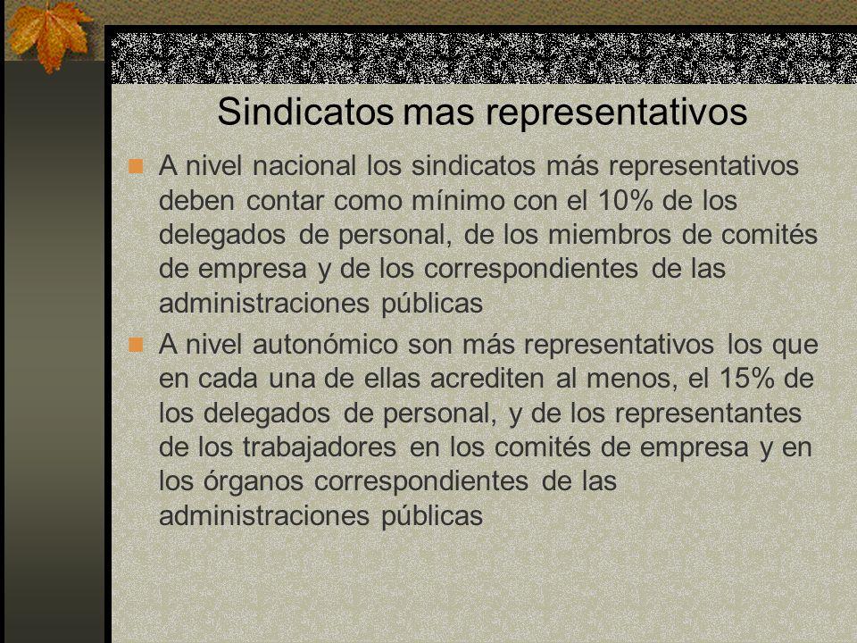 Sindicatos mas representativos A nivel nacional los sindicatos más representativos deben contar como mínimo con el 10% de los delegados de personal, d